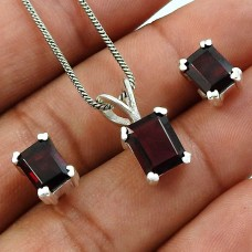 Garnet Gemstone Earring Pendant Set 925 Sterling Silver Indian Handmade Jewelry A4
