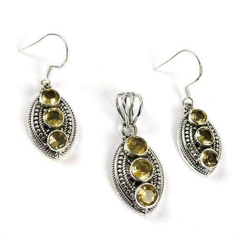 Daily Wear Citrine Gemstone Sterling Silver Pendant and Earrings Set 925 Sterling Silver Jewellery Set