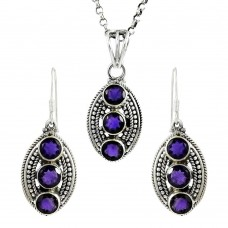 Rare Amethyst Gemstone Sterling Silver Pendant and Earrings Set 925 Sterling Silver Fashion Jewellery Set