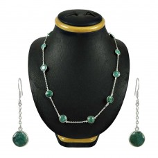 Fashion Emerald Gemstone Sterling Silver Necklace and Earrings Set 925 Sterling Silver Antique Jewellery Set