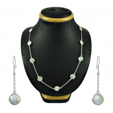 Designer Rainbow Moonstone Sterling Silver Necklace and Earrings Set 925 Sterling Silver Indian Jewellery Set