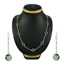Lovely Green Amethyst Gemstone Sterling Silver Necklace and Earrings Set Indian Sterling Silver Jewellery Set