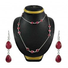 Rattling Ruby Gemstone Sterling Silver Necklace and Earrings Set 925 Silver Jewellery Set