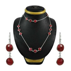 Scrumptious Ruby Gemstone Sterling Silver Necklace and Earrings Set 925 Sterling Silver Jewellery Set