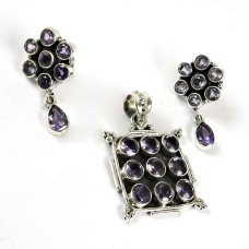 Good-Looking Amethyst Gemstone Sterling Silver Pendant and Earrings Set 925 Sterling Silver Antique Jewellery Set