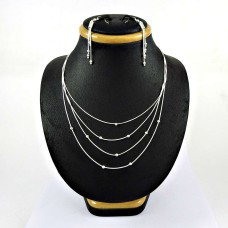 Beautiful 925 Sterling Silver Earring Necklace Set
