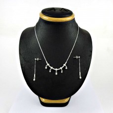 Daily Wear 925 Sterling Silver Earring Necklace Set