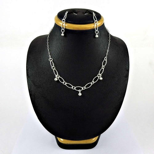 Latest Trend 925 Sterling Silver Earring Necklace Set