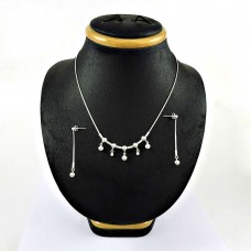 Fashion 925 Sterling Silver Earring Necklace Set