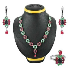 925 Sterling Silver Vintage Jewellery Beautiful Ruby, Emerald, Iolite Gemstone Earrings, Ring and Necklace Set Exporter India