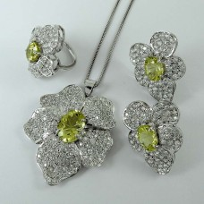 Special Moment 925 Sterling Silver Lemon Topaz CZ Gemstone Earring Pendant and Ring Set