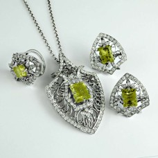 True Emotion 925 Sterling Silver Lemon Topaz CZ Gemstone Earring Pendant and Ring Set