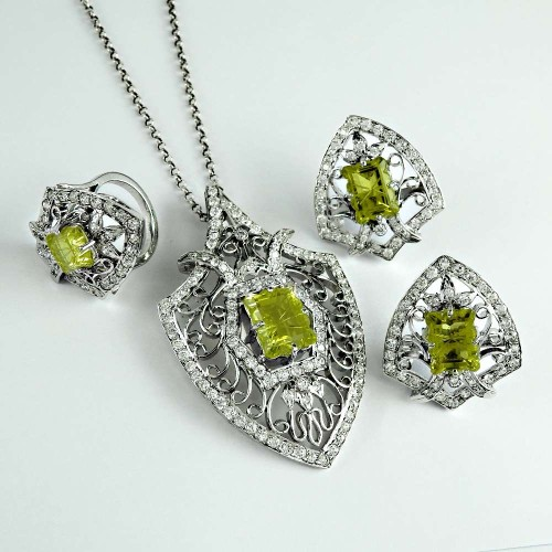 True Emotion 925 Sterling Silver Lemon Topaz CZ Gemstone Earring Pendant and Ring Set
