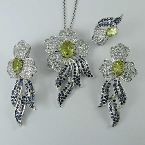 Bloom Fashion 925 Sterling Silver Blue Sapphire Lemon Topaz CZ Gemstone Earring Pendant and Ring Set
