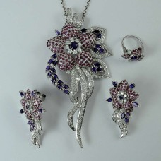 925 Sterling Silver Amethyst Ruby CZ Gemstone Flower Earring Pendant and Ring Set