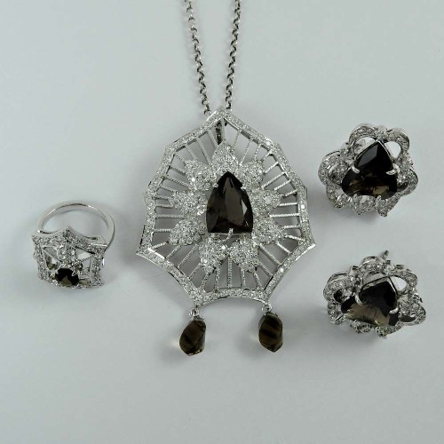 Bold Vintage Energetic 925 Sterling Silver Smoky Quartz CZ Gemstone Earring Pendant and Ring Set
