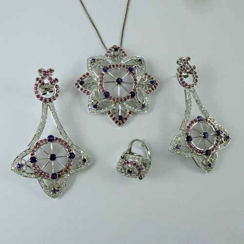 Vintage Fashion 925 Sterling Silver Amethyst Ruby CZ Gemstone Earring Pendant and Ring Set