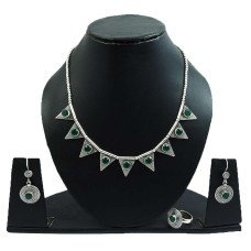 Green Onyx Gemstone Earring Necklace Ring Set 925 Sterling Silver Vintage Look Jewelry P4
