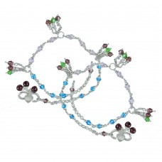 Beautiful ! Multi Colour Glass 925 Sterling Silver Anklets