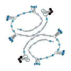 Big Dreamer ! Multi Colour Glass 925 Sterling Silver Anklets