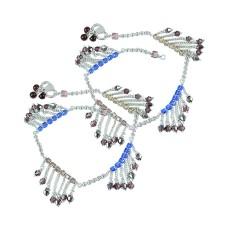 Claptoap ! Multi Colour Glass 925 Sterling Silver Anklets