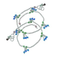 Gorgeous ! Multi Colour Glass 925 Sterling Silver Anklets