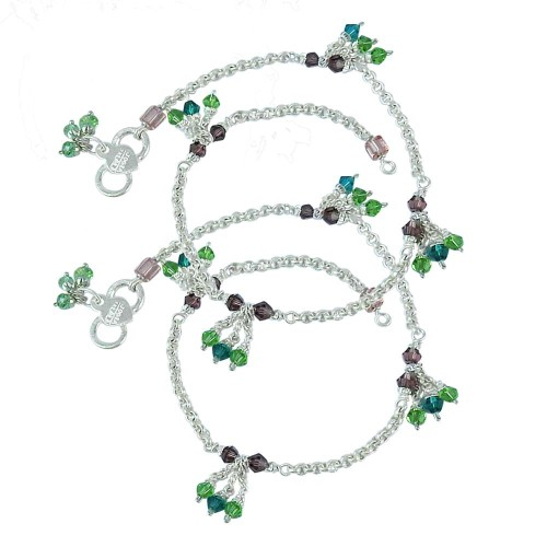 Handmade ! Multi Colour Glass 925 Sterling Silver Anklets