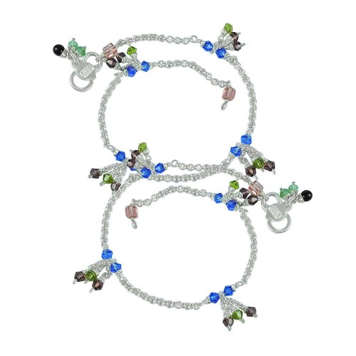 Lady Elegance ! Multi Colour Glass 925 Sterling Silver Anklets