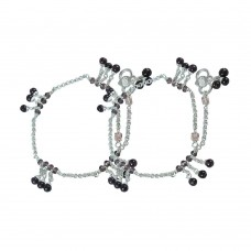 Faceted ! Multi Colour Glass 925 Sterling Silver Anklets