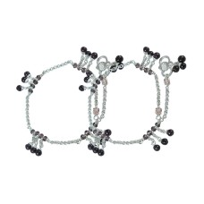 Paradise Bloom ! Multi Colour Glass 925 Sterling Silver Anklets