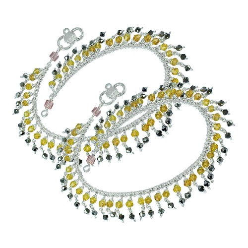 Victorian Style ! Multi Colour Glass 925 Sterling Silver Anklets