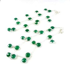 925 Sterling Silver Jewelry Charming Green Onyx Gemstone Anklets