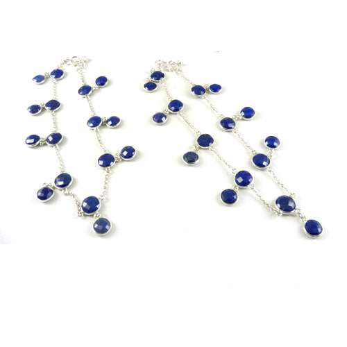 925 Sterling Silver Jewelry Fashion Blue Sapphire Gemstone Anklets