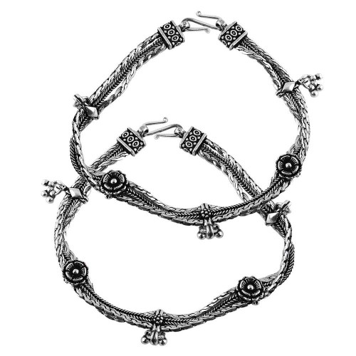 Ethnic Design 925 Sterling Silver Anklets