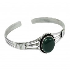 Perfect 925 Sterling Silver Green Onyx Gemstone Bangle