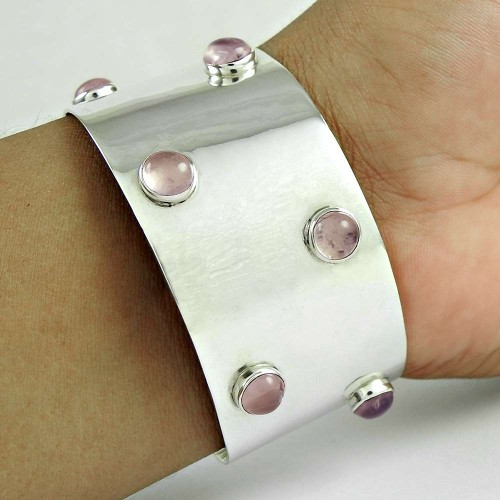 925 Sterling Silver Jewellery Rare Rose Quartz Gemstone Bangle Supplier