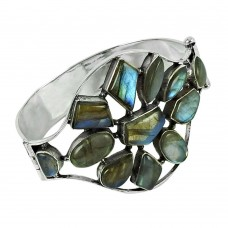 Seemly 925 Sterling Silver Labradorite Gemstone Bangle