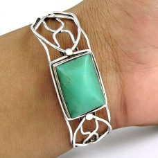 Pale Beauty ! Chrysoprase 925 Sterling Silver Bangle