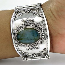 Natural ! Labradorite 925 Sterling Silver Bangle