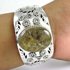 Simple ! Golden Rutile 925 Sterling Silver Bangle