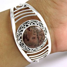 Royal Style Fossil Jasper Gemstone Sterling Silver Bangle Jewellery