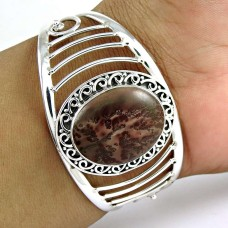 A Secret Fossil Jasper Gemstone Sterling Silver Bangle Jewellery