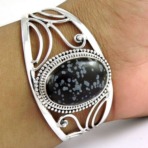 Classy ! Snowflake obsidian 925 Sterling Silver Bangle