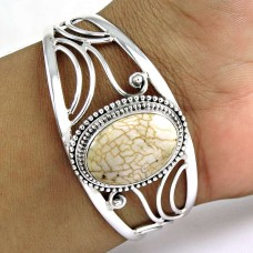 Beautiful fossil white coral Gemstone Sterling Silver Bangle Jewellery