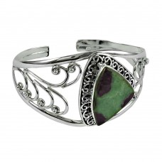 Well-Favoured 925 Sterling Silver Ruby Zoisite Gemstone Bangle
