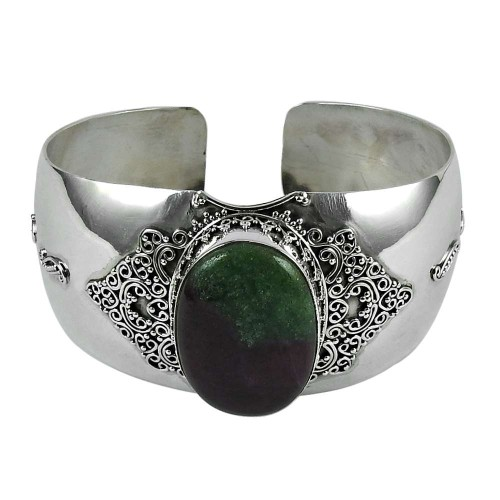 Personable 925 Sterling Silver Ruby Zoisite Gemstone Bangle