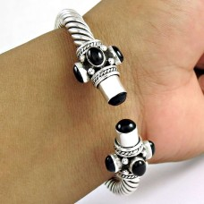 Delicate ! Black Onyx 925 Sterling Silver Bangle