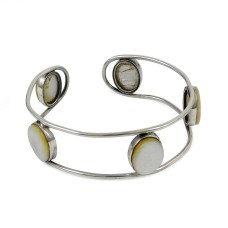925 sterling silver fashion Jewellery Trendy Mother Of Pearl Gemstone Bangle