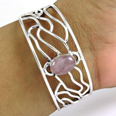 925 sterling silver gemstone Jewellery Charming Rose Quartz Gemstone Bangle