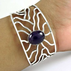 Large Fashion ! Amethyst 925 Sterling Silver Bangle